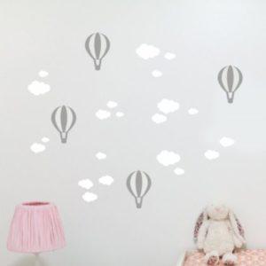 Fali matrica gömbök és felhők Fehér-Szürke