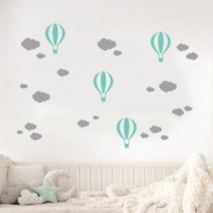 Fali matrica gömbök és felhők Szürke-Mint