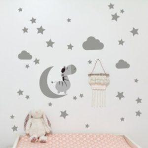 Fali matrica Hold és csillagok Szürke